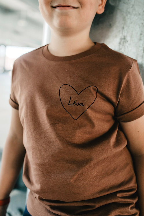 Tee-shirt mon coeur Enfant Terracota