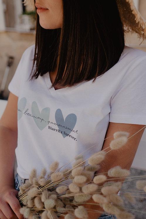 T-Shirt Col V SUMMER Femme Coeurs pastel bleu