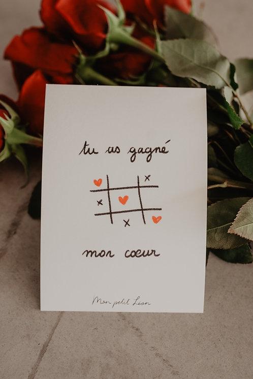 Carte Postale tu as gagné mon coeur