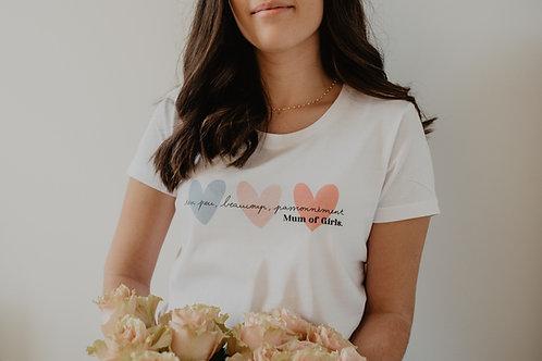 T-Shirt solidaire Femme Coeurs bleus/Roses