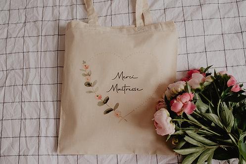 Tote bag Merci Maitresse Nounou Coeur Poétique