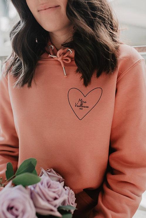 Sweat à capuche mon coeur femme Rose blush