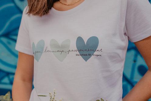 T-Shirt SUMMER Femme Coeurs pastel bleu