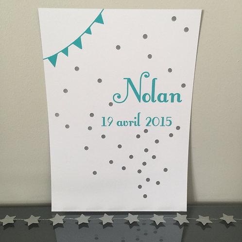 Affiche confettis date de naissance