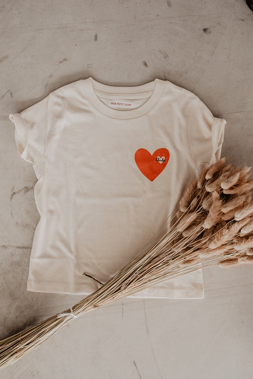 """Tee-shirt beige """"coeur qui pétille"""" Bébé ou Enfant"""