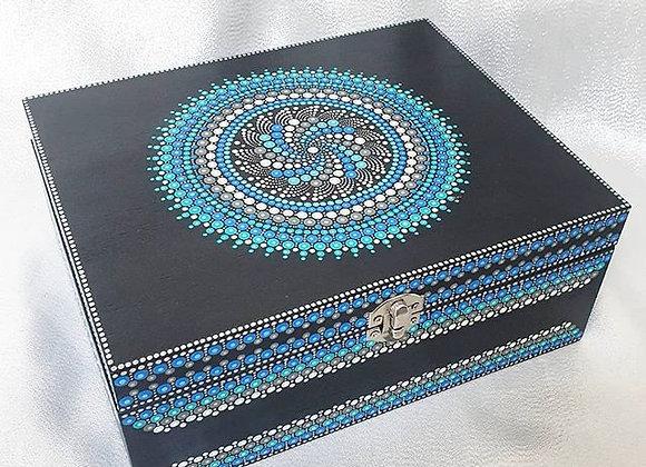 Bleu boîte en bois