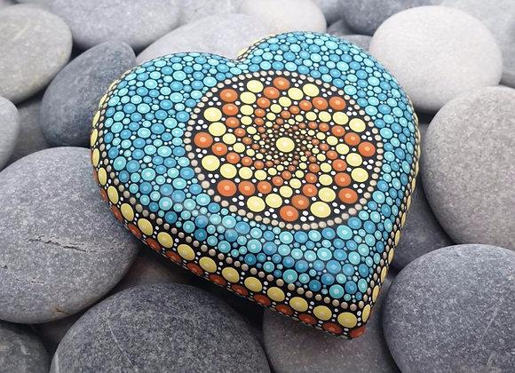 Turquoise & Jaune Coeur Pierre Mandala