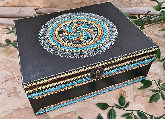 Turquoise melangé boîte en bois