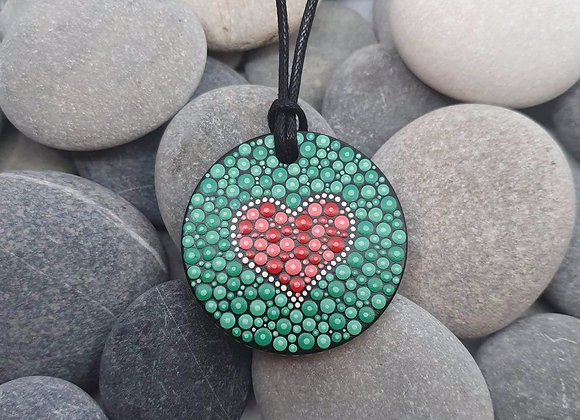 Vert rouge coeur mandala collier