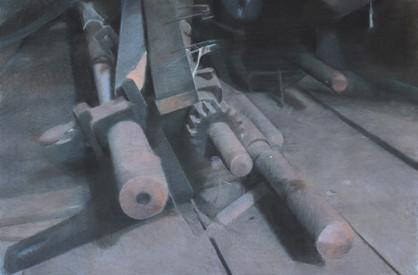 Filature Ramond, galetas, pastel sec sur toile, 138 x 92 cm, 2015