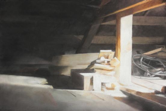 Grenier, 50 x 65 cm, pastel sec sur papier (filature ramond), 2017,