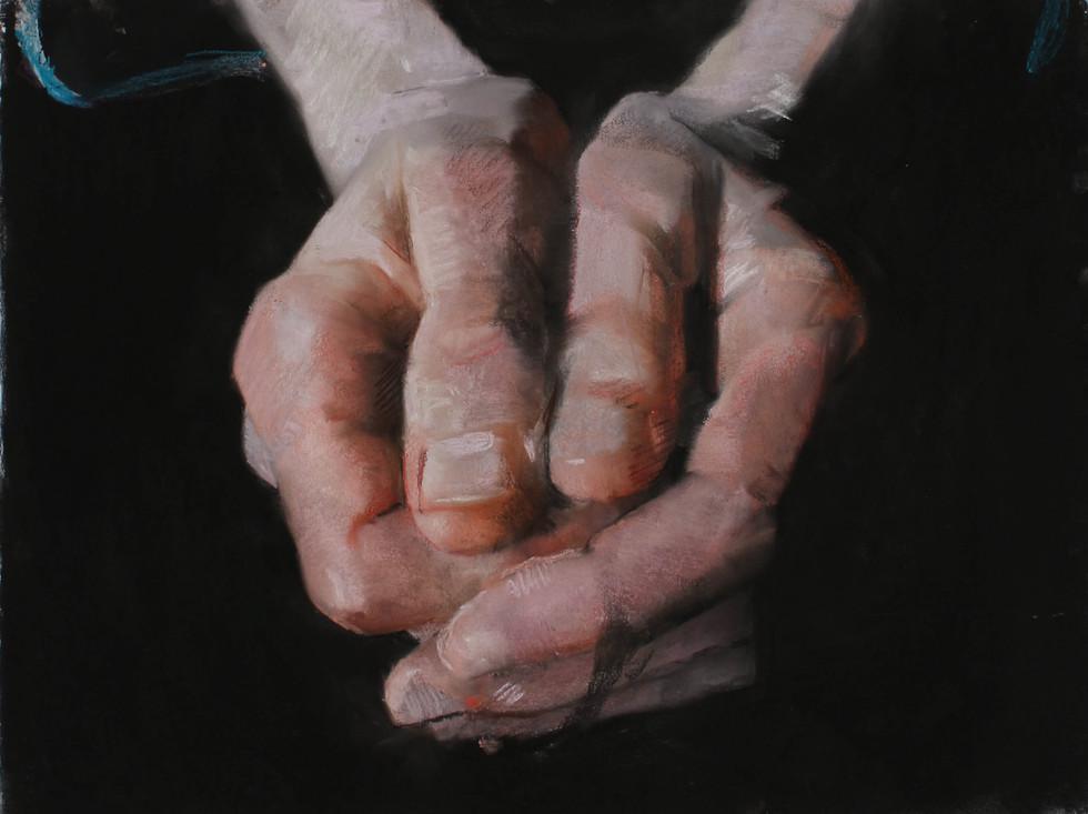 Mains de C., 2017, 50 x 65 cm, pastel sur papier