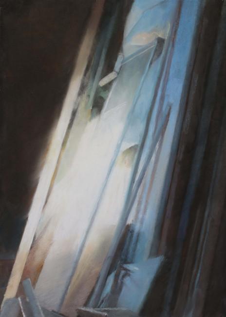 Lueur au fond du grenier, pastel, 55 x 78 cm, 2020