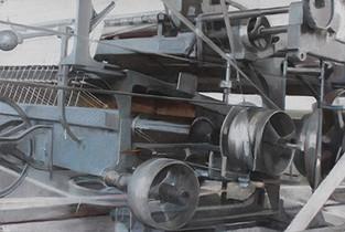 Filature Ramond, Mule-Jenny, pastel sec sur toile, 138 x 92 cm, 2014