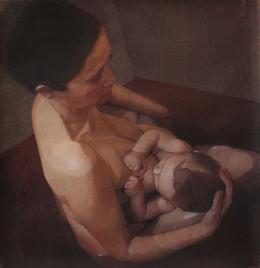 Autoportrait avec Victor, 2012 pastel sur toile, 90x 80 cm