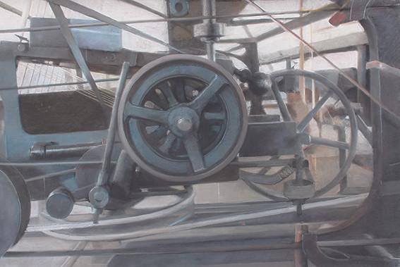 Filature Ramond, Rouages, pastel sec sur toile, 138 x 92 cm, 2015