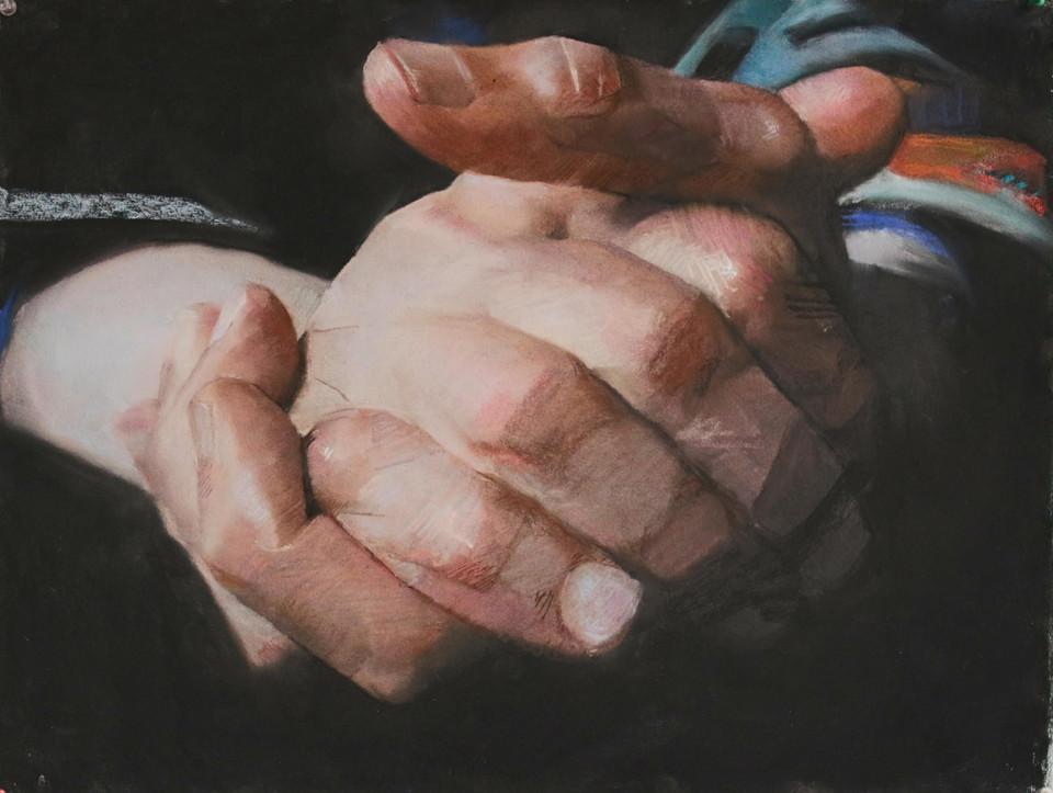 Mains de C. (1), 50 x 65 cm, pastel sur papier, 2017, collection particuliere, Paris