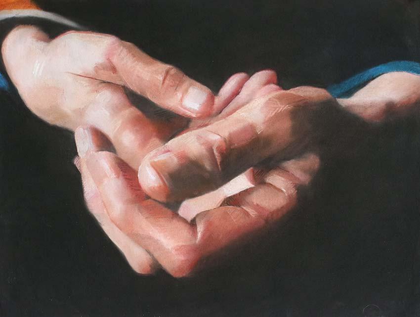 Mains de C. (3),  50 x 65 cm, pastel sur papier, 2018, collection particuliere, Paris