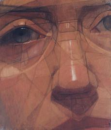 Autoportrait, pastel sur toile, 82x80cm, 2005
