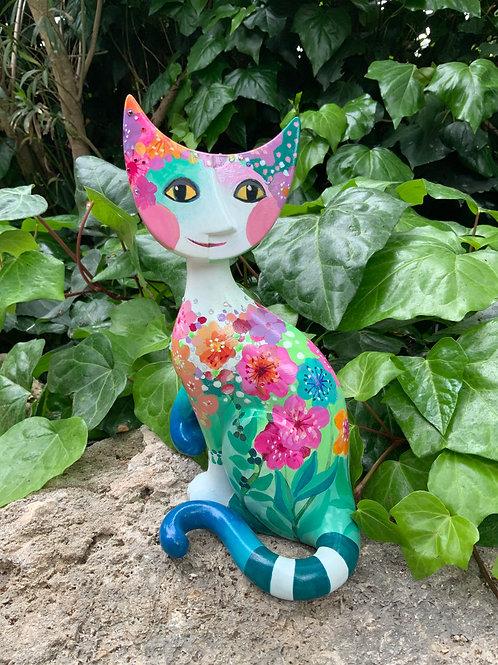 Primavera gatto in  porcellana 30 cm.