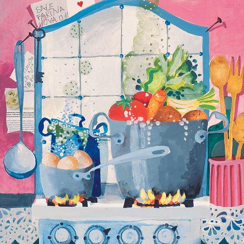 Cucina Gabila tempera e acrilico su cartoncino