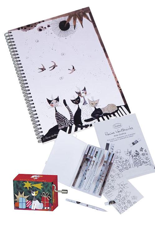 Set Arte grafica 1 note book-10 pennarelli colorati-1 carillon