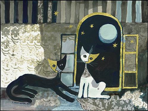 Coppia di gatti sotto la Luna 60 X 80 cm.