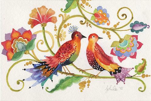Amore a primavera Gabila acquarello 34,5X23,5 cm