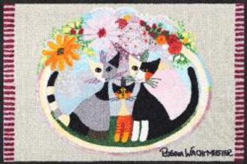 Famiglia con fiore (50x75cm) - tappeto/zerbino Rosina Wachtmeister