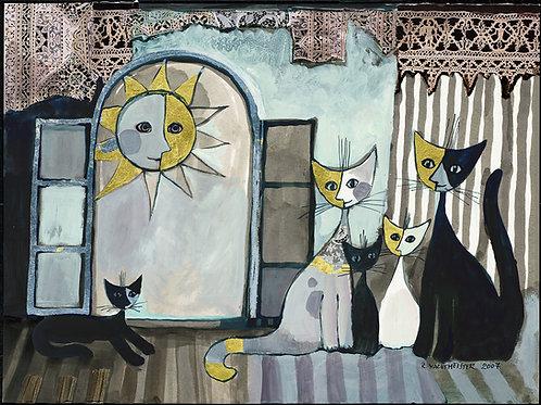 Coppia di gatti sotto al Sole poster 60X 80 cm.