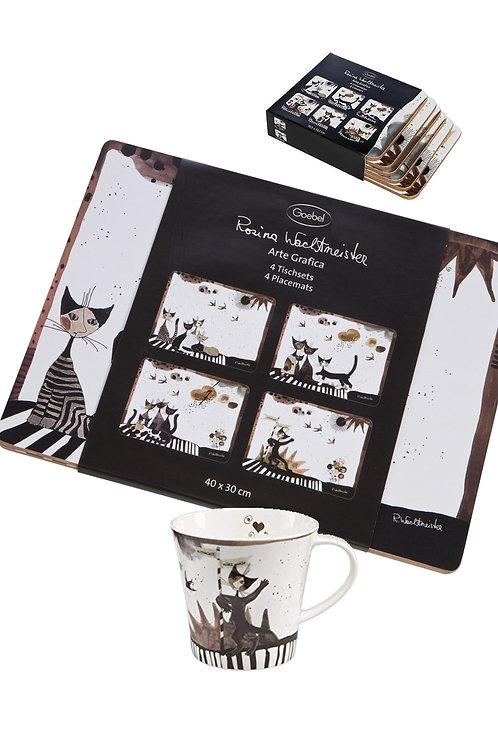 Set Arte grafica Sottobicchieri tovagliette e tazza