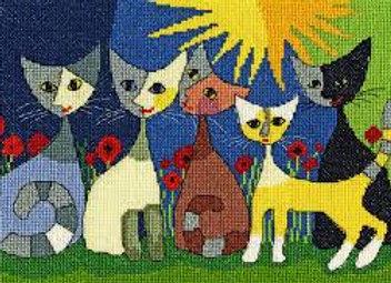 Set da ricamo Five cats Rosina Wachtmeister
