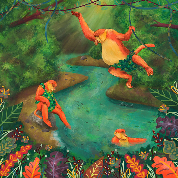 Three Monkeys in a river in the jungle. Colourful rainforest illustration for colour collective