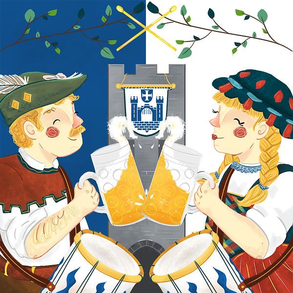 Illustration of Ravenburg's Rutenfest in Germany. Two people dressd in traditional outfits cheersing