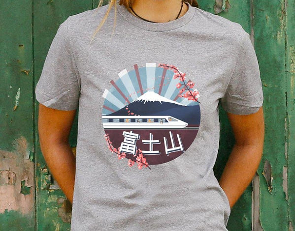 illustrated t-shirt design of shiba inu dogs on the shinkansen bullet train going past mount fuji