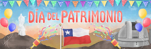 Illustrated Travel Blog header. Colourful ilustration of Chilean festival dia del patrimonio