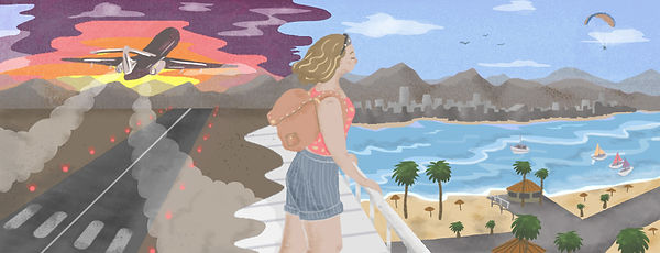 Illustrated Travel Blog header. Colourful ilustration of a girl travelling.