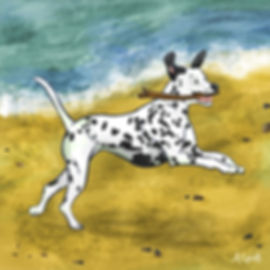 Colourful Illustration of a dalmatian dog character for the Daily Doggy Doodle Series.