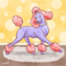 Colourful Illustration of a Poodle dog character for the Daily Doggy Doodle Series.