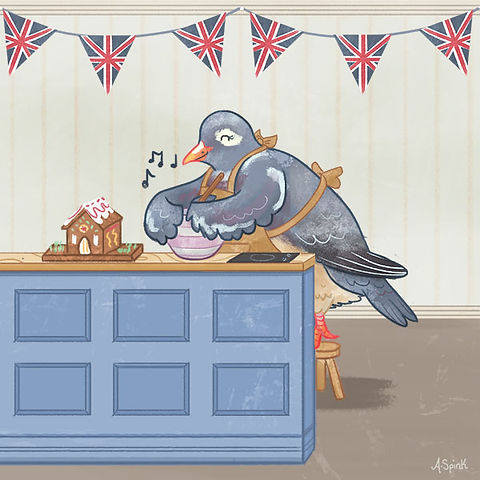 A pigeon baking in the in The Great British Bake Off