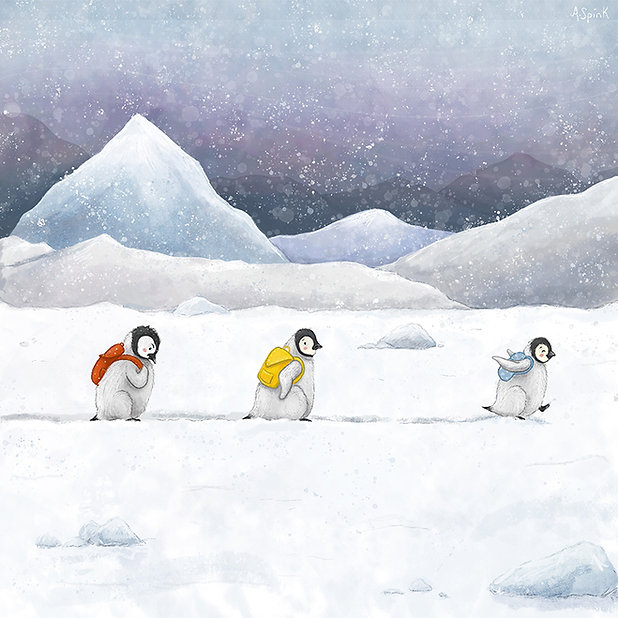 Children's Picture Book Illustration of Penguins in the snow