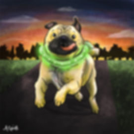 Colourful Illustration of a pug dog character for the Daily Doggy Doodle Series.