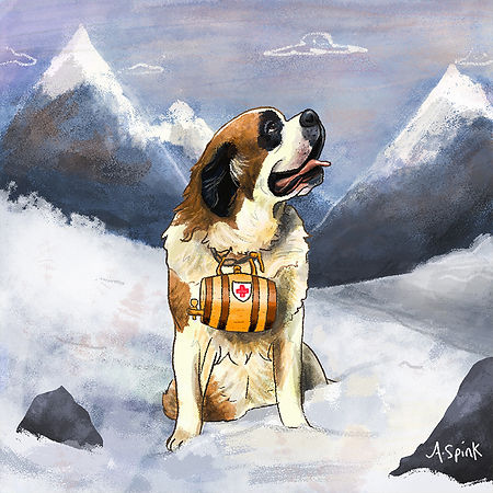 Colourful Illustration of a rescue dog character for the Daily Doggy Doodle Series.