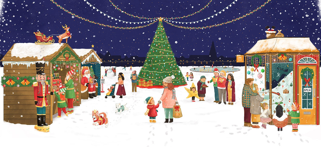 Hire an Illustrator - Virtual Artist in Residency. Christmas children's Illustraton Scene by Ashlee Spink
