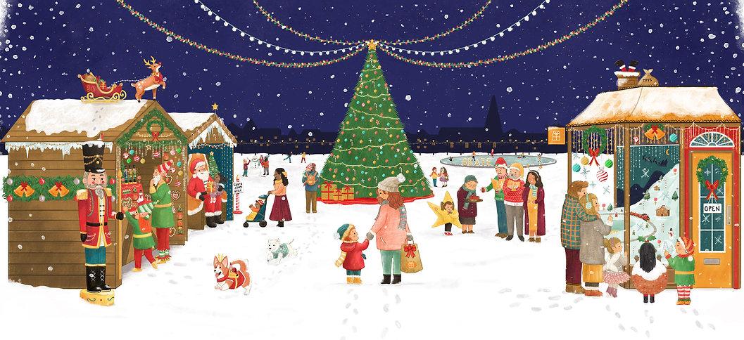 Hire an Illustrator - Virtual Artist in Residency. Christmas children's Illustraton Scene by Ashlee Spink