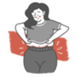 Line Art Icon Illustration of a woman wearing tights. Black, Grey, White & Red. Garni Tights