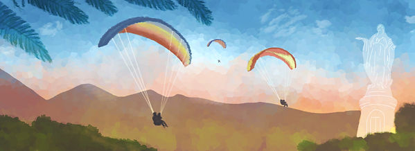 Illustrated Travel Blog header. Colourful ilustration of parachuting, gliding, parasailing.