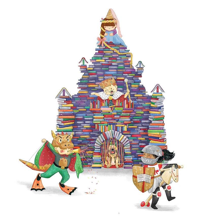 Illustration of a Castle made from books. Dragon fighting a knight children's illustration. Pug in a costume. Rapunzel.