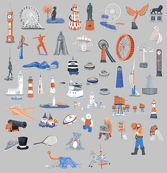 Landmark icons for an illustrated map. Illustration icons of towers, fairgounds, statues, toys and sport.