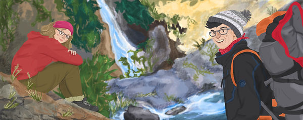Illustrated Travel Blog header. Colourful ilustration of a couple hiking.